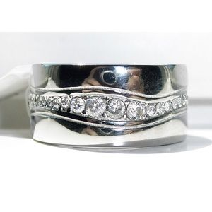 STAINLESS STEEL Men's Heavy AAA Grade CZ Band Ring